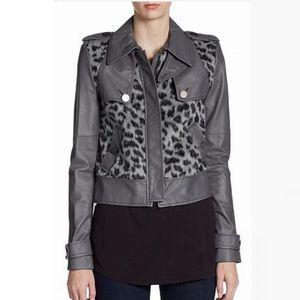 BCBG Maxazria gray leather leopard biker jacket S